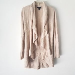 WH|BM WATERFALL OPEN FRONT CARDIGAN LONG SLEEVE